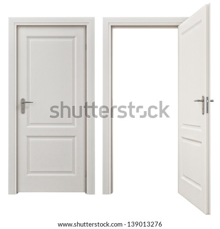 Closed and  doors Isolated on White Background - stock photo