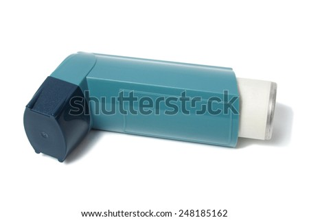 Closed asthma inhaler isolated on white background - stock photo