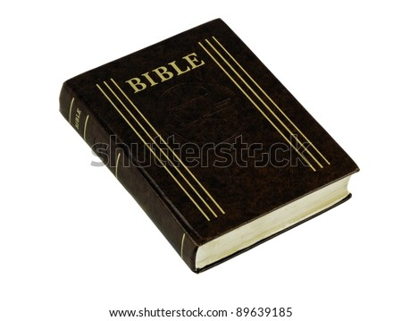 Closed Bible book on white isolated background