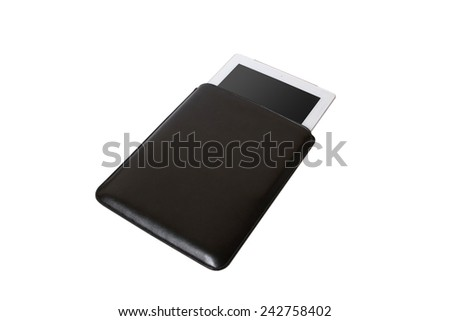 Closed Black tablet case on white background - stock photo