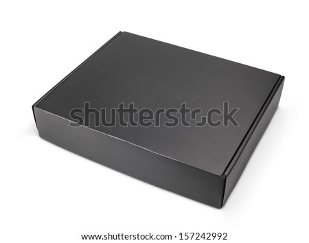 Closed blank black carton box isolated on white with clipping path - stock photo