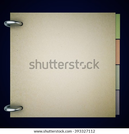 Closed blank notepad with colorful stickers inside on black background. Mock up, 3D Render - stock photo