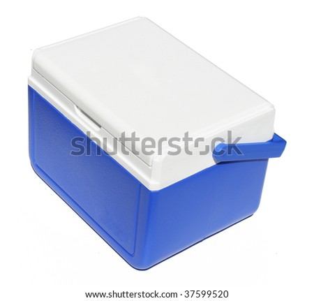Closed blue cooler on a white background - stock photo