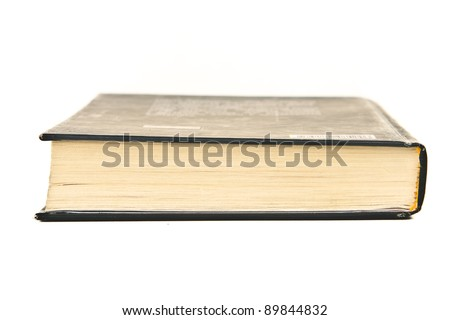Closed book on white background. Close up. - stock photo