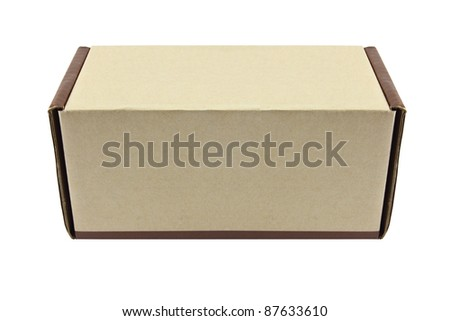 Closed box on white background, Clipping path inside - stock photo