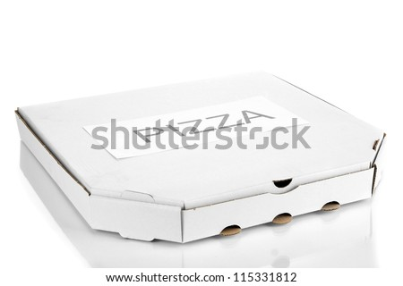 closed box with pizza isolated on white - stock photo