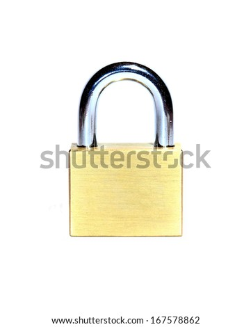 Closed brass lock isolated on white background