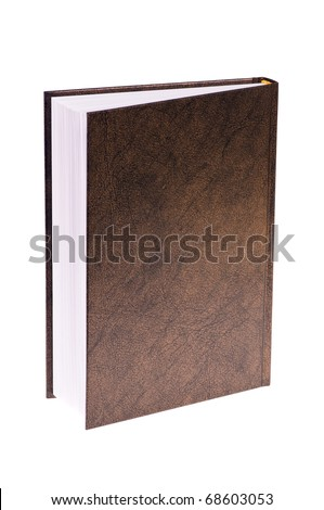 closed brown book isolated on white background