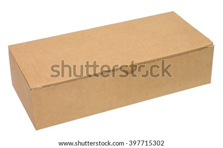 Closed brown packing cardboard box. Isolated on white background. Three-quarter view. No shadow. - stock photo