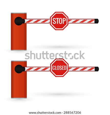 Closed car barrier isolated on white with stop and closed sings.   - stock photo