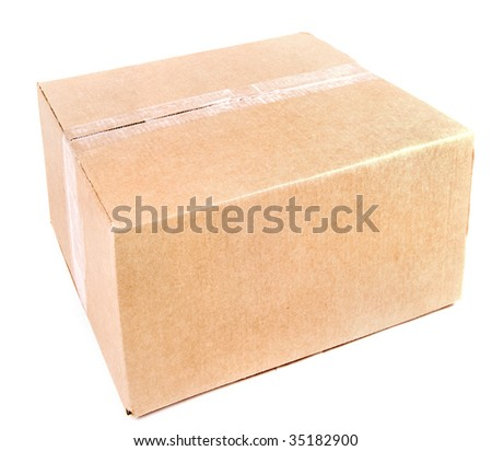 closed cardboard box - stock photo