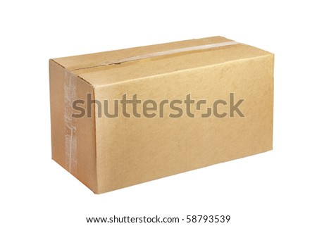 closed cardboard box isolated on the white background - stock photo
