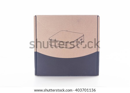 Closed cardboard box on white background.