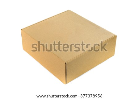 Closed cardboard Box or brown paper package box isolated with soft shadow on White background