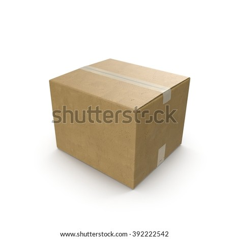 closed cardboard box. closed cardboard box taped up and isolated on a white e