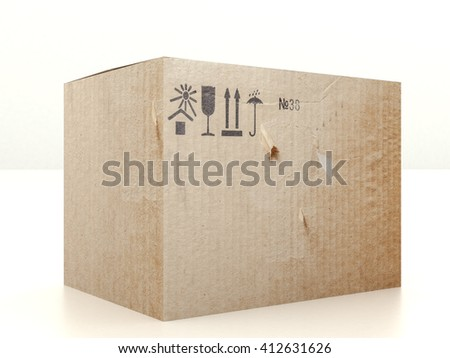 Closed cardboard box with post mail symbols. Worn packing with signs arrows, umbrella, fragile glass, sun and house. Realistic high resolution 3d illustration - stock photo