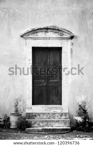 Closed church door from the Monastery of Arkadi  in Crete, Greece - stock photo