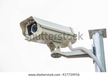 closed circuit television on white background