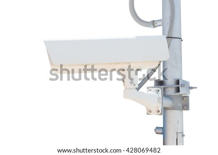 closed circuit television on white background - stock photo