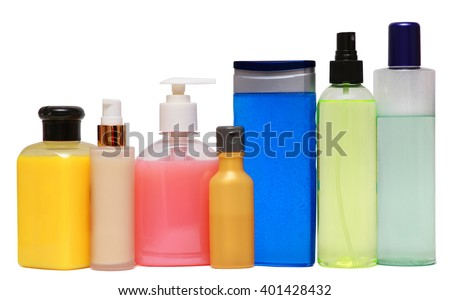 Closed Cosmetic Or Hygiene Plastic Bottle Of Gel, Liquid Soap, Lotion, Cream, Shampoo. Isolated On White Background. - stock photo