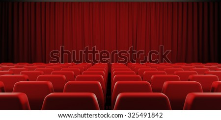 Closed curtain cinema screen. 3d render image. - stock photo