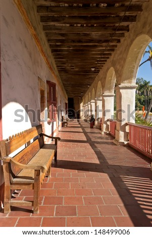 Closed door at the end of the hallway. Santa Barbara, CA, USA - stock photo