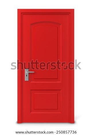 Closed door. 3d illustration isolated on white background - stock photo