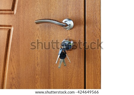 Closed door handle. Door lock with keys. Brown wooden door closeup isolated. Modern interior design, door handle. New house concept. Real estate. - stock photo