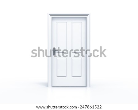closed door in white background - stock photo