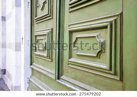 Closed door of a church  - stock photo