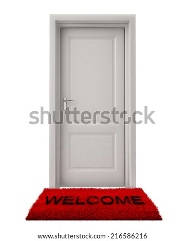Closed Door with Welcome Mat Isolated on White Background - stock photo