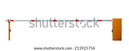 Closed entrance barrier isolated on white background - stock photo