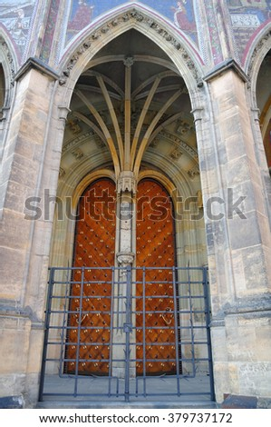 Closed entrance to St. Vitus Cathedral. Prague. Czech Republic - stock photo