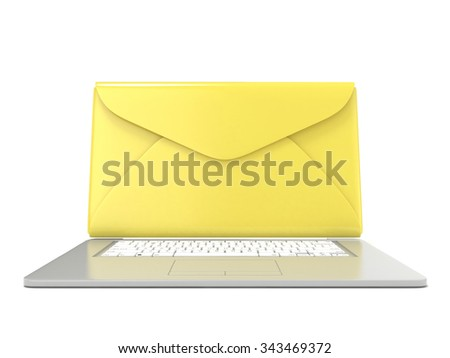 Closed envelope on laptop. Front view. 3D render illustration isolated on white background - stock photo