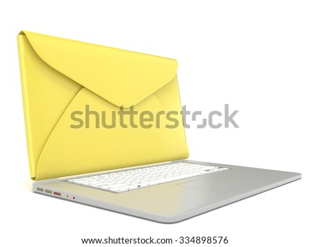 Closed envelope on laptop. Side view. 3D render illustration isolated on white background - stock photo