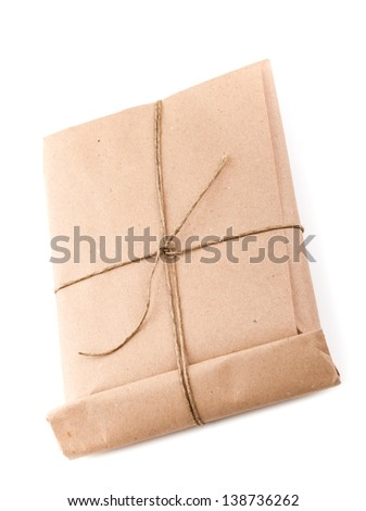 Closed envelope tied with a rope isolated on white background with soft shadow
