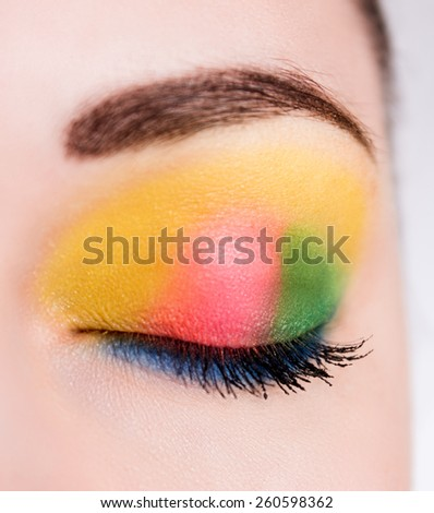 closed eyes of a beautiful spring-summer makeup - stock photo