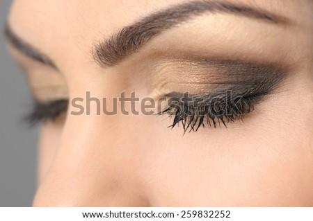 Closed Eyes Smoky Makeup Closeup - stock photo