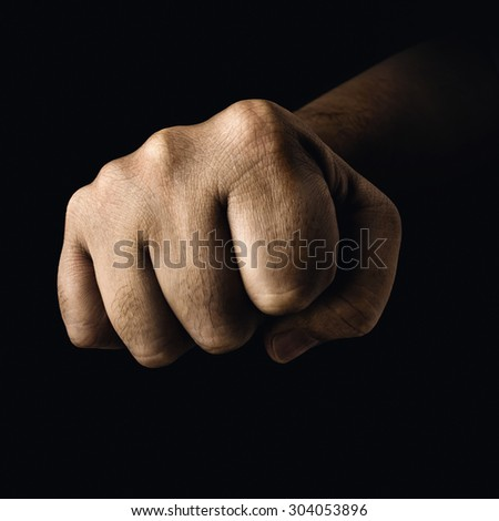 Closed fist in a concept of fight sports.