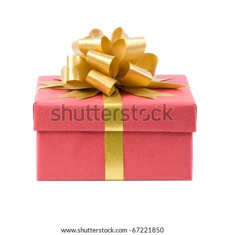 Closed Gift Box. Isolated on white background. - stock photo