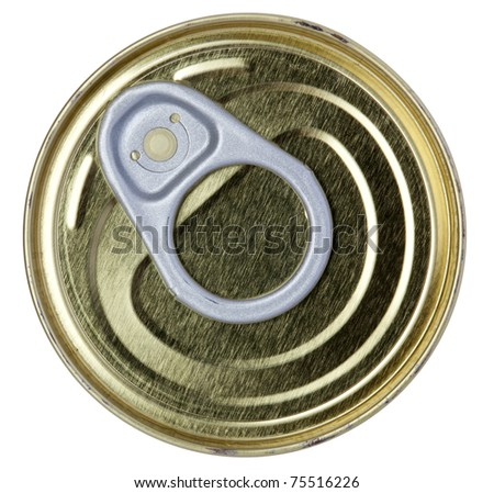Closed gold metal tin isolated on white background