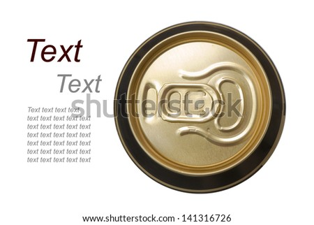 closed golden beer can on white background, view from the top