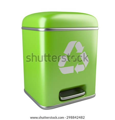 Closed green ecological trash can with recycling sign. Image isolated on white background