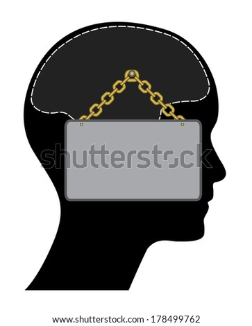 Closed head with sign and golden chain, creative illustration. - stock photo