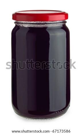 Closed jar of blueberry jam isolated on white - stock photo