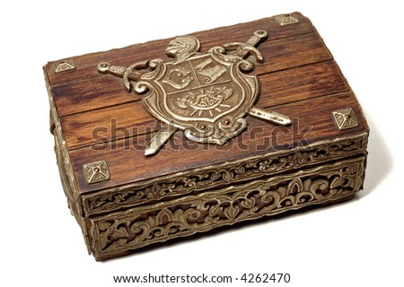 closed jewelry box on white background - stock photo