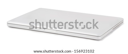 closed laptop isolated on a white background - stock photo