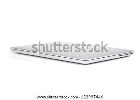 Closed laptop. Isolated on white background - stock photo
