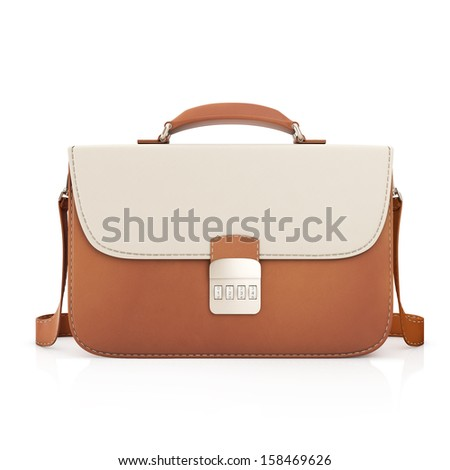 Closed Leather briefcase on a white background - stock photo