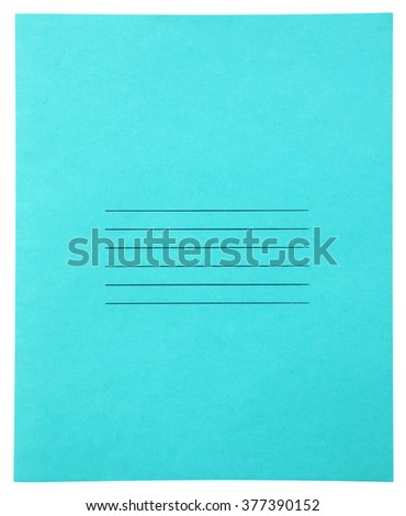 Closed light blue notebook isolated on white background with clipping path - stock photo